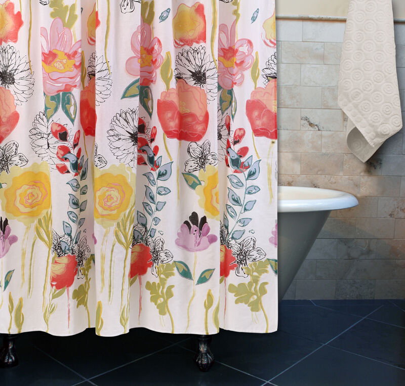 WATERCOLOR DREAM FLORAL SHOWER CURTAIN : YELLOW CORAL