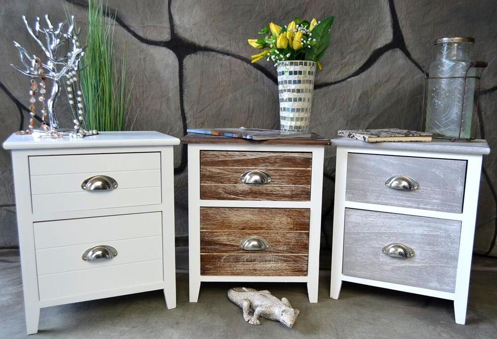 kommode mit schubladen nachttisch nachtschrank landhaus shabby vintage lv ebay. Black Bedroom Furniture Sets. Home Design Ideas