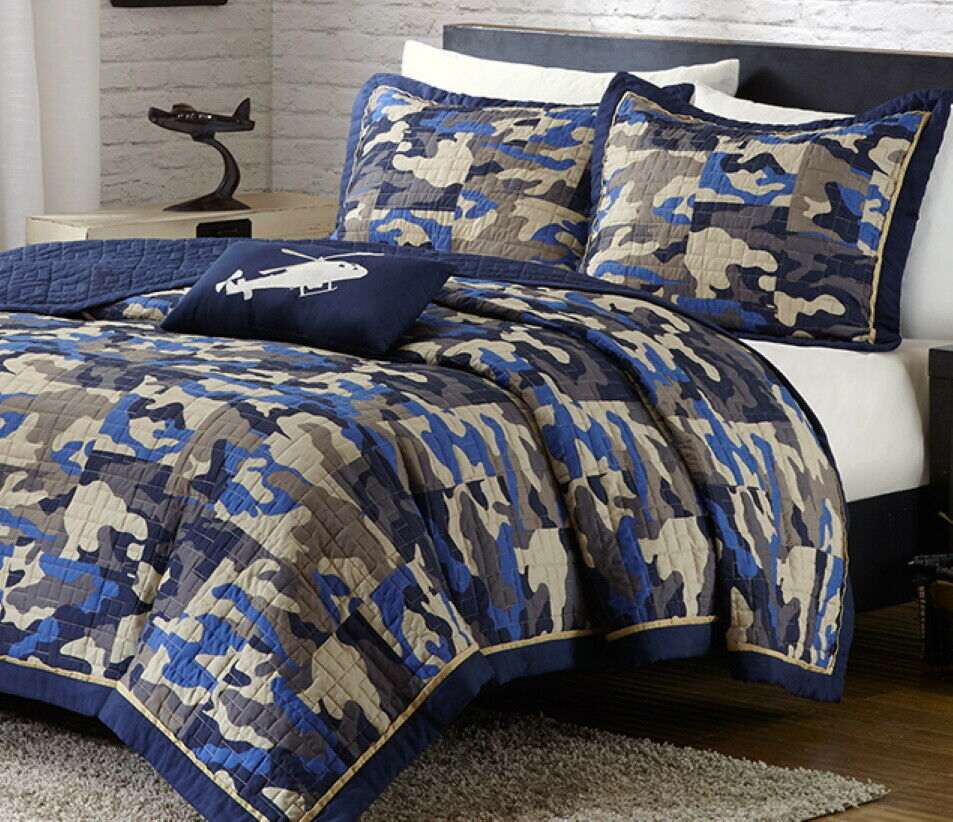 CAMOUFLAGE BLUE Full Queen QUILT SET : CAMO MILITARY ARMY