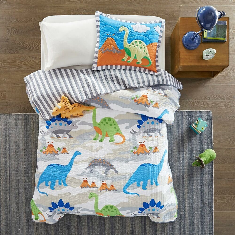 Jurassic Full Queen Quilt Set Boys White Blue Rex