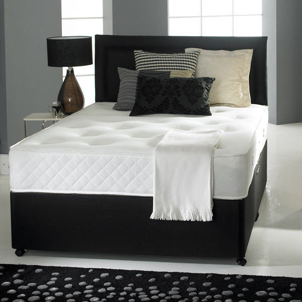 Memory foam divan bed set mattress headboard size 3ft 4ft6 double 5ft king ebay Divan double bed with mattress