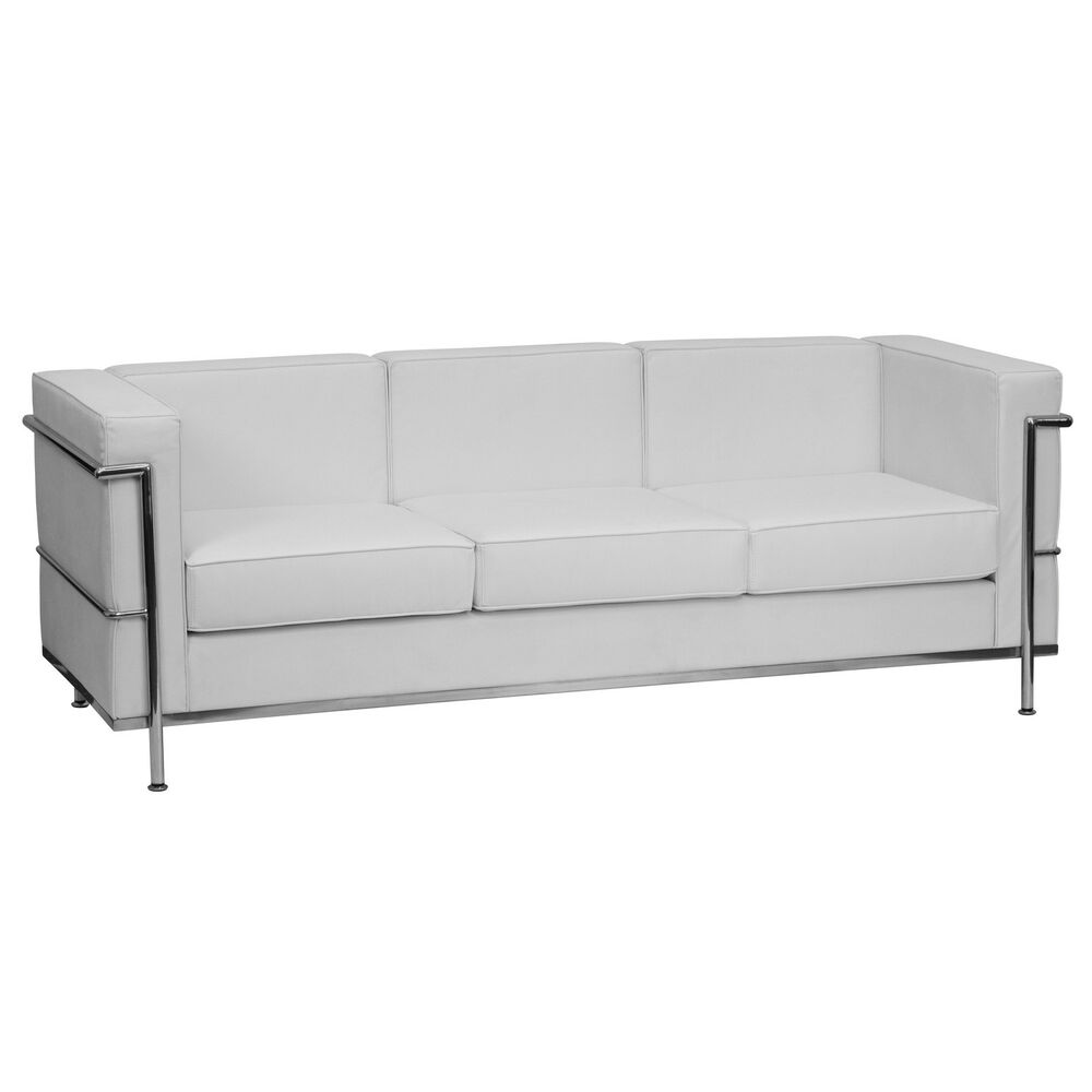 Flash Hercules Regal Contemporary White Leather Sofa With - leather sofa traditional white