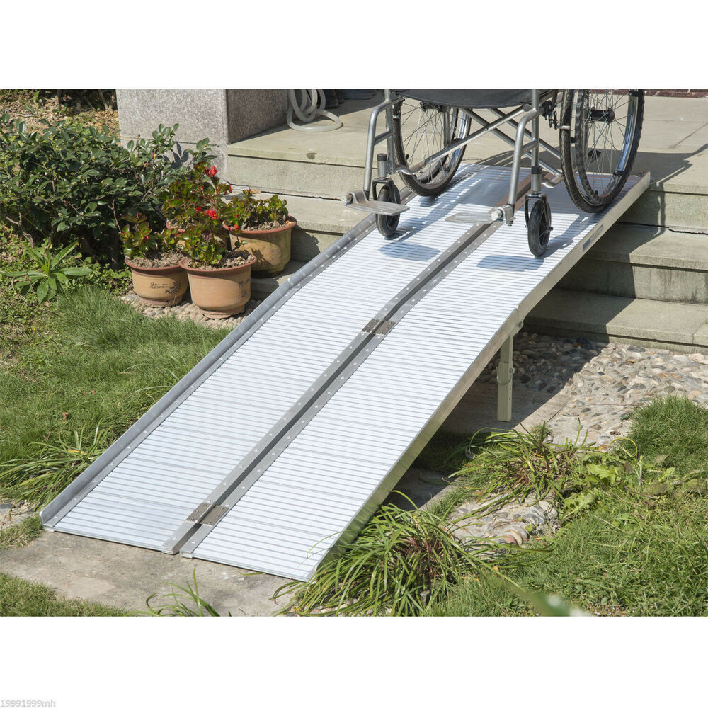 Folding Portable Wheelchair Ramp : Homcom aluminum wheelchair ramp fold handicap scooter