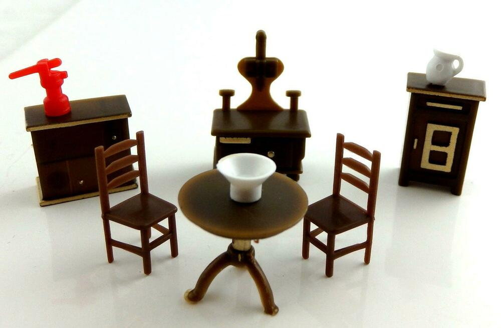 Dolls House Miniature 1 48 Scale Plastic Kitchen Furniture Set Ebay