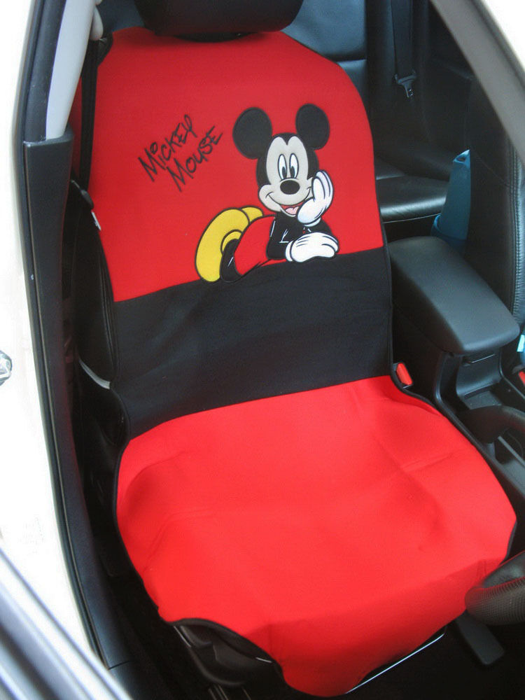 mickey mouse car accessory c 1 piece car seat cover red black ebay. Black Bedroom Furniture Sets. Home Design Ideas
