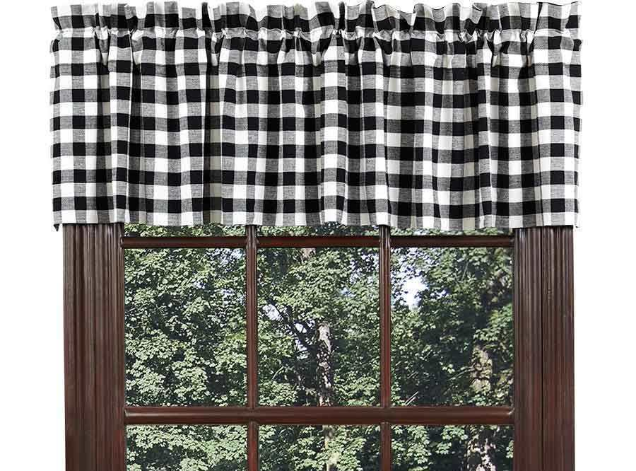 Buffalo Black Check Valance White Plaid Country Cottage