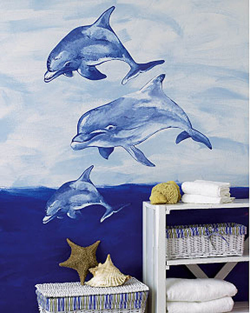 Dolphin wall murals large stickers decals mural decorate for Dolphin wall mural