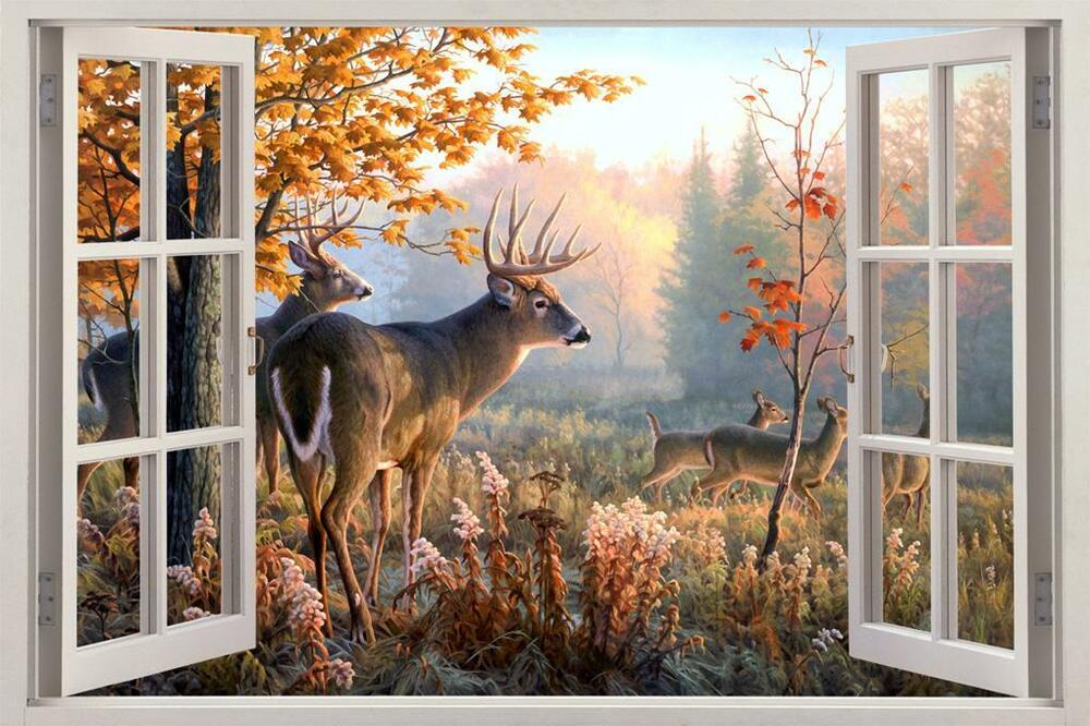 Whitetail deer window view decal wall sticker home decor for Deer wall mural