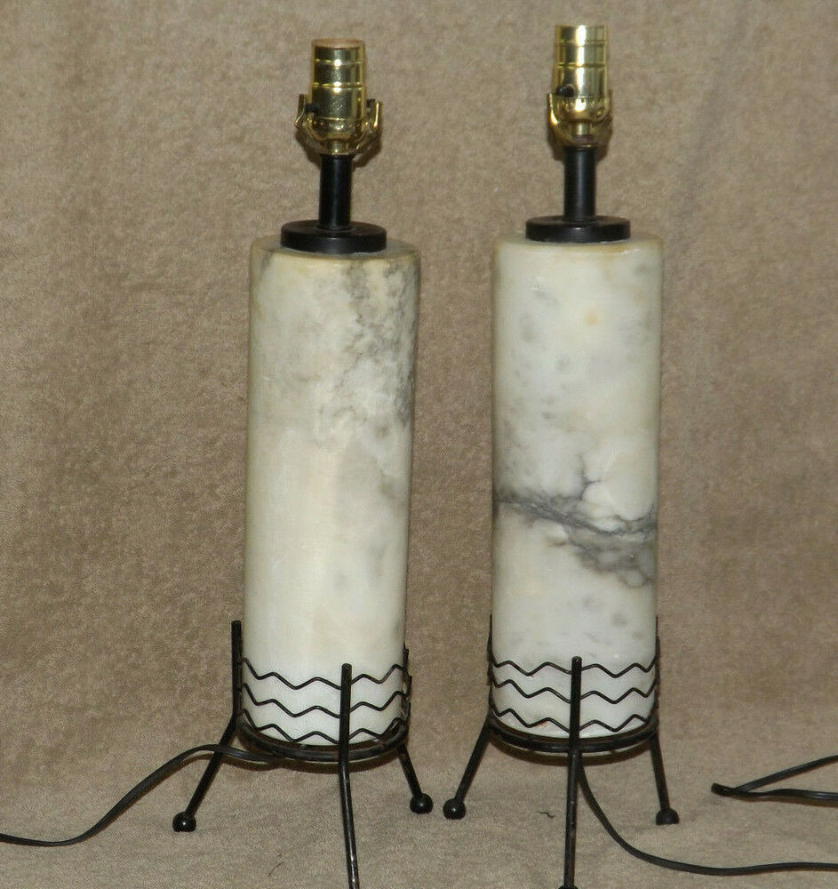 Mid Century Pair 2 Atomic Marble Column Cylinder Lamps