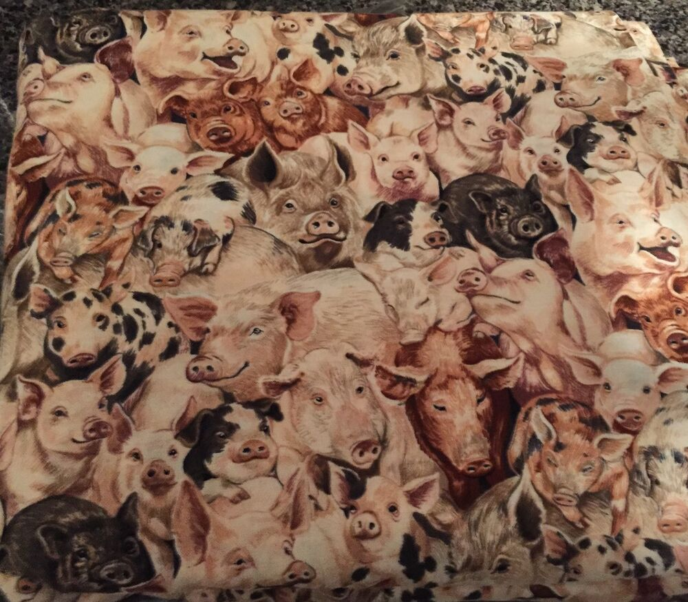 Buy by the yard cotton fabric farm animals crowded pigs for Purchase fabric by the yard