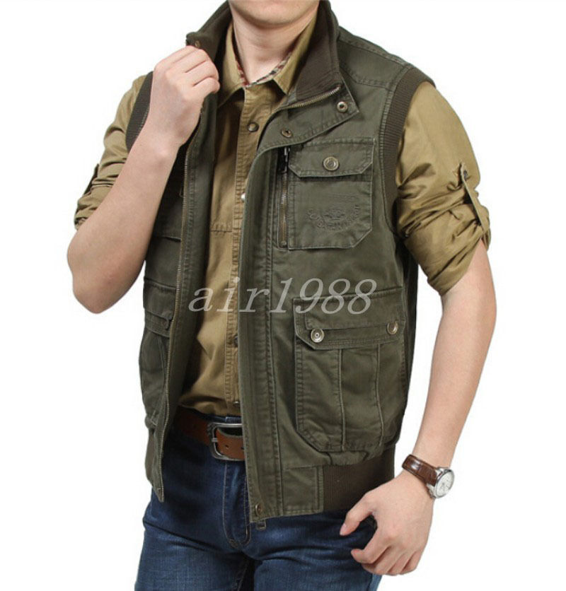 Winter New Men S Cotton Lined Zipper Cargo Package Outdoor Jacket Vest Waistcoat Ebay