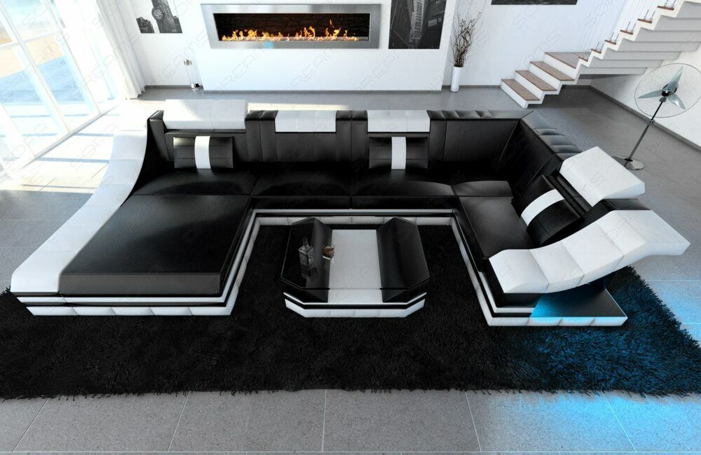 ecksofa wohnlandschaft turino u form mit led rgb. Black Bedroom Furniture Sets. Home Design Ideas