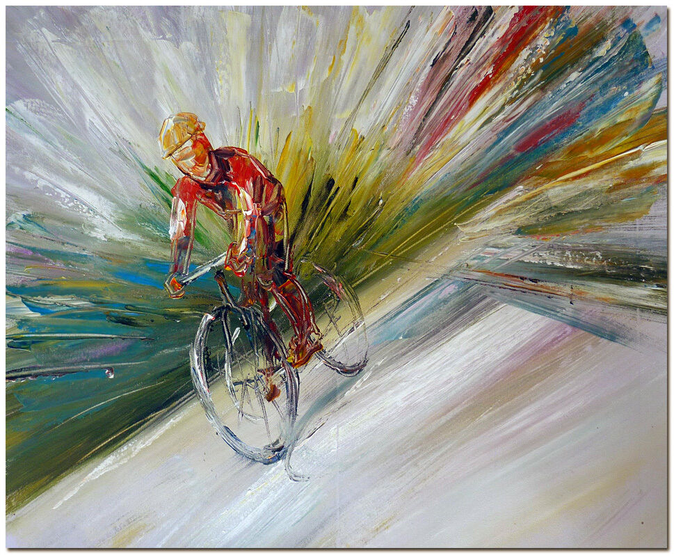 Cycling race signed hand painted bicycle sport abstract for Bicycle painting near me