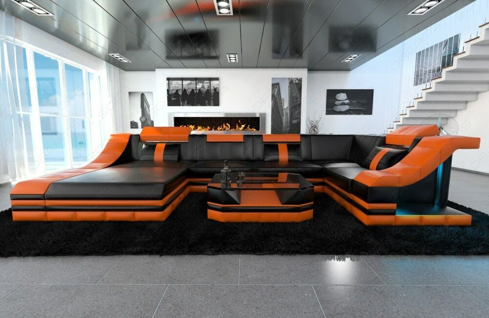 ledersofa wohnlandschaft turino u form mit led beleuchtung schwarz orange ebay. Black Bedroom Furniture Sets. Home Design Ideas