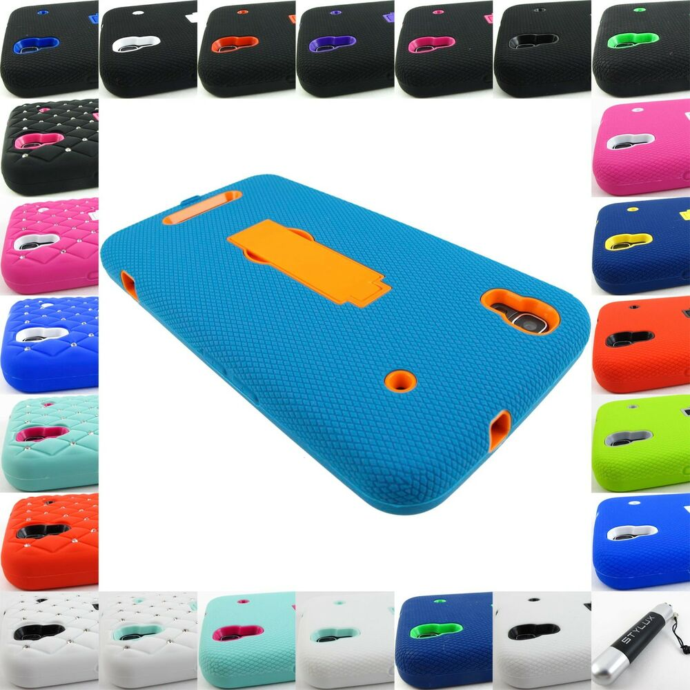 FOR ZTE MAX+ N9520 N9521 BOOST RUGGED HYBRID ARMOR IMPACT CASE COVER ...