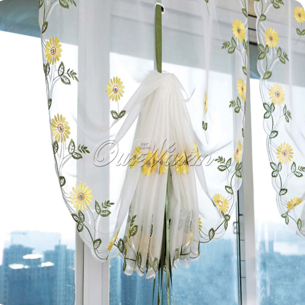 New Embroidered Daisy Flower Shade Sheer Voile Cafe