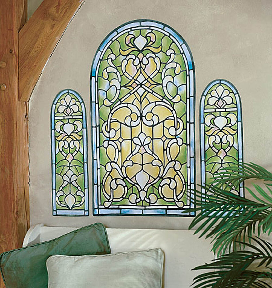 Stained glass window wall mural art deco murals sticker for Mural glass painting