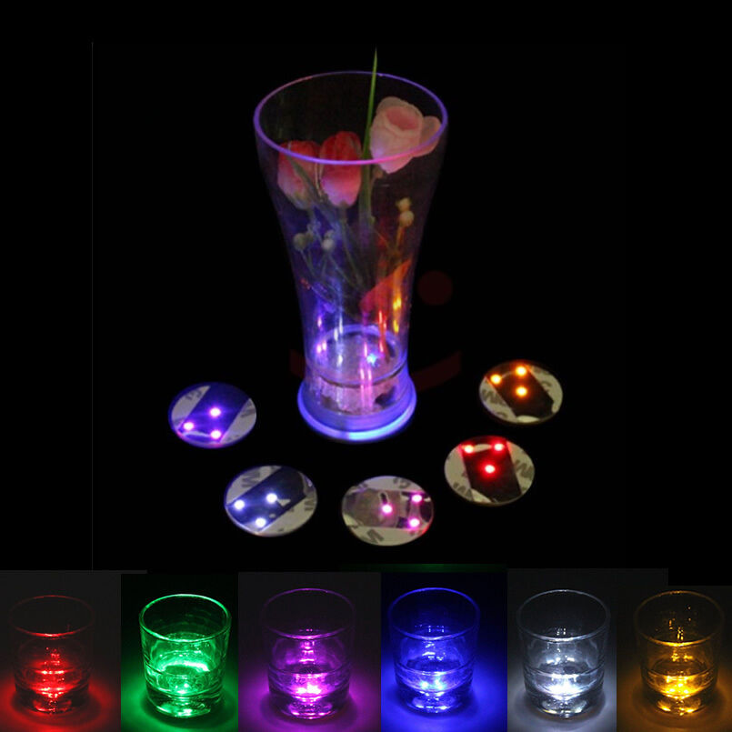 Led flashing lights bulb bottle cup mat coaster for clubs bars party ktv bar ebay - Lighted coaster ...