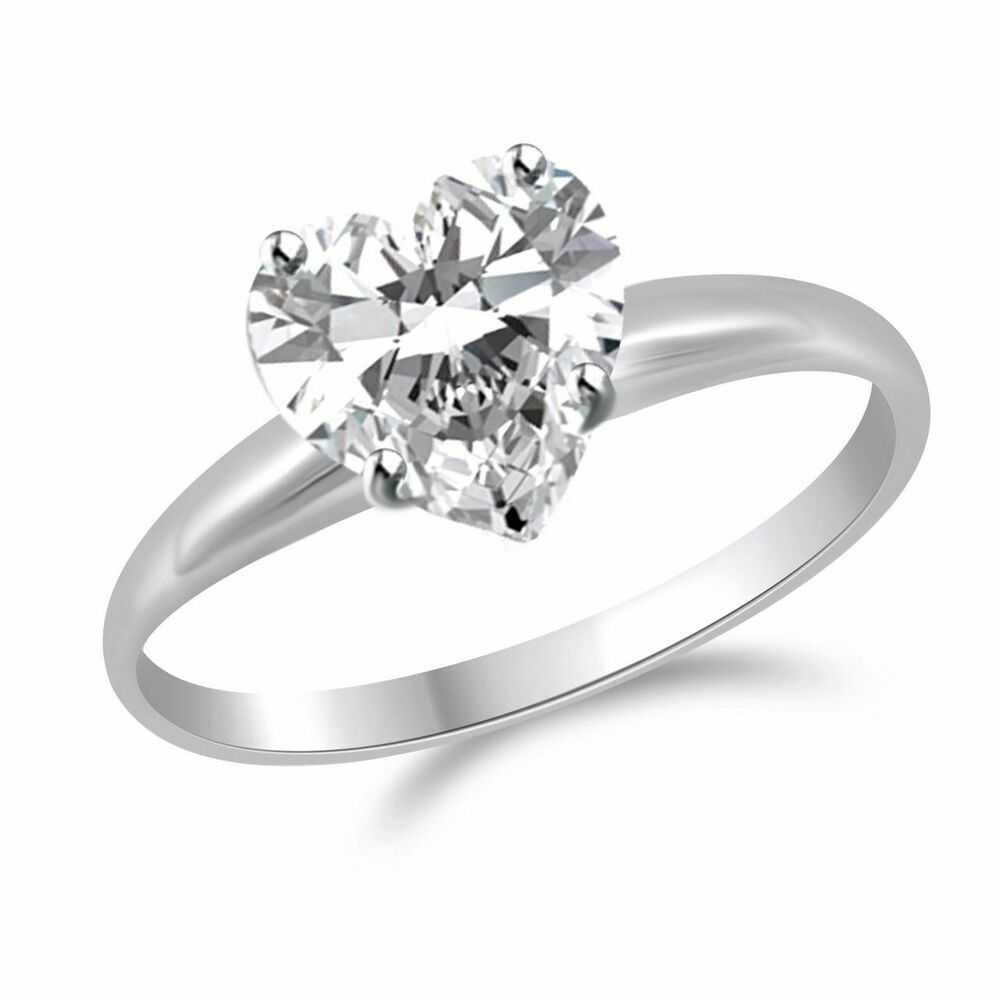 2 Ct Heart Shape Solitaire Engagement Wedding Promise Ring ...