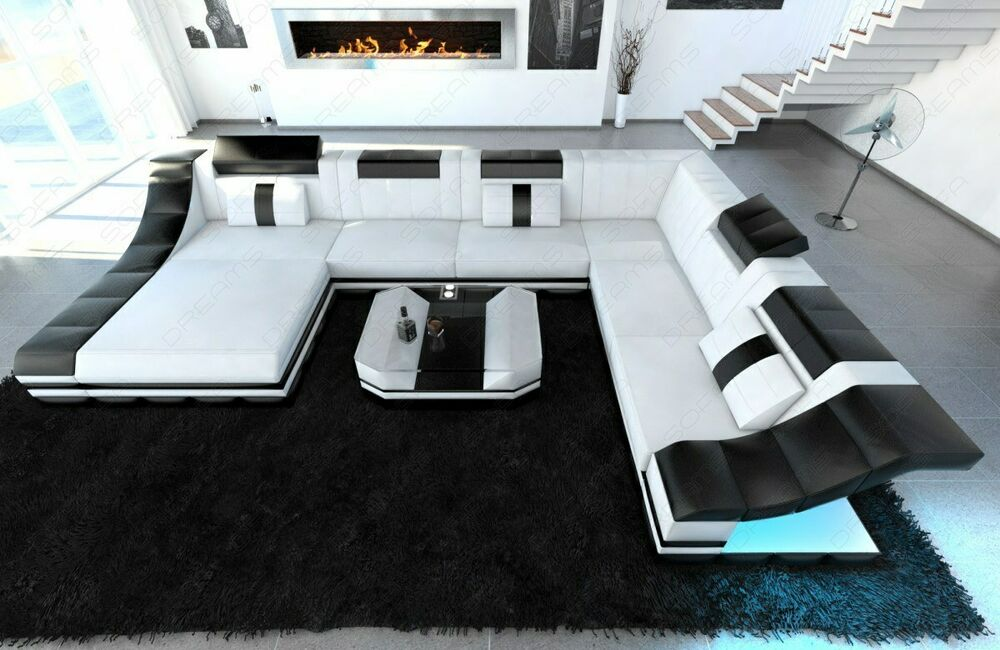 designersofa turino xxl mit led beleuchtung ledercouch. Black Bedroom Furniture Sets. Home Design Ideas