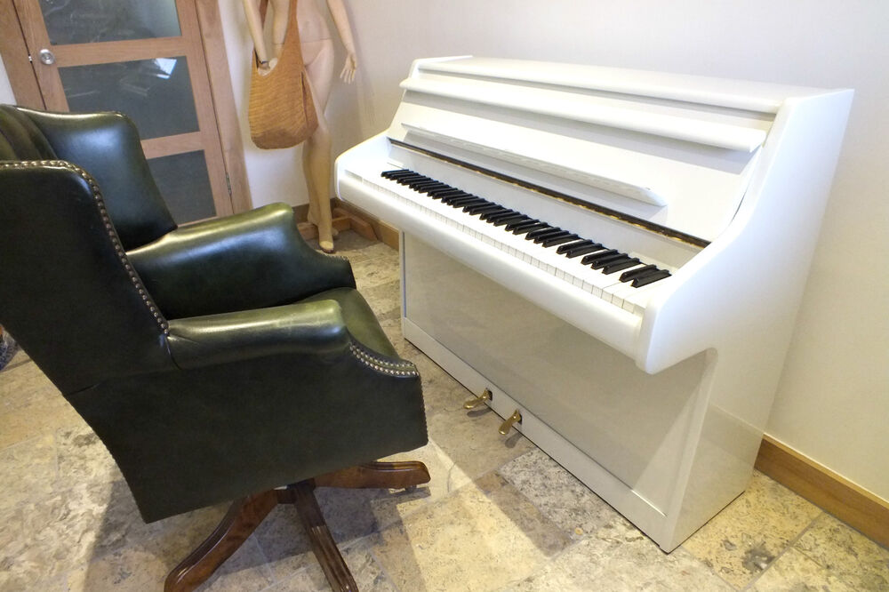 Small white gloss compact upright piano british made fully for Small upright piano dimensions