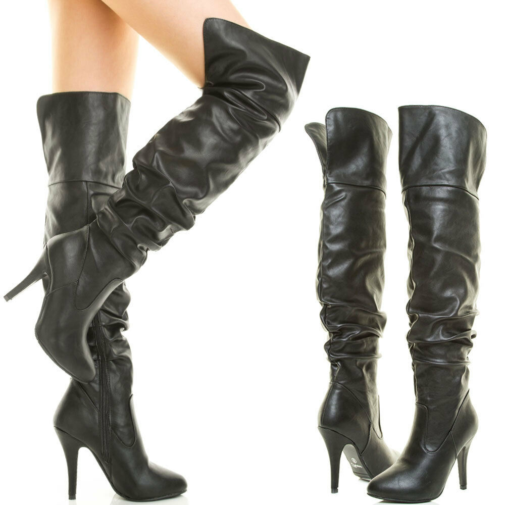 new faux leather the knee thigh high stiletto heel