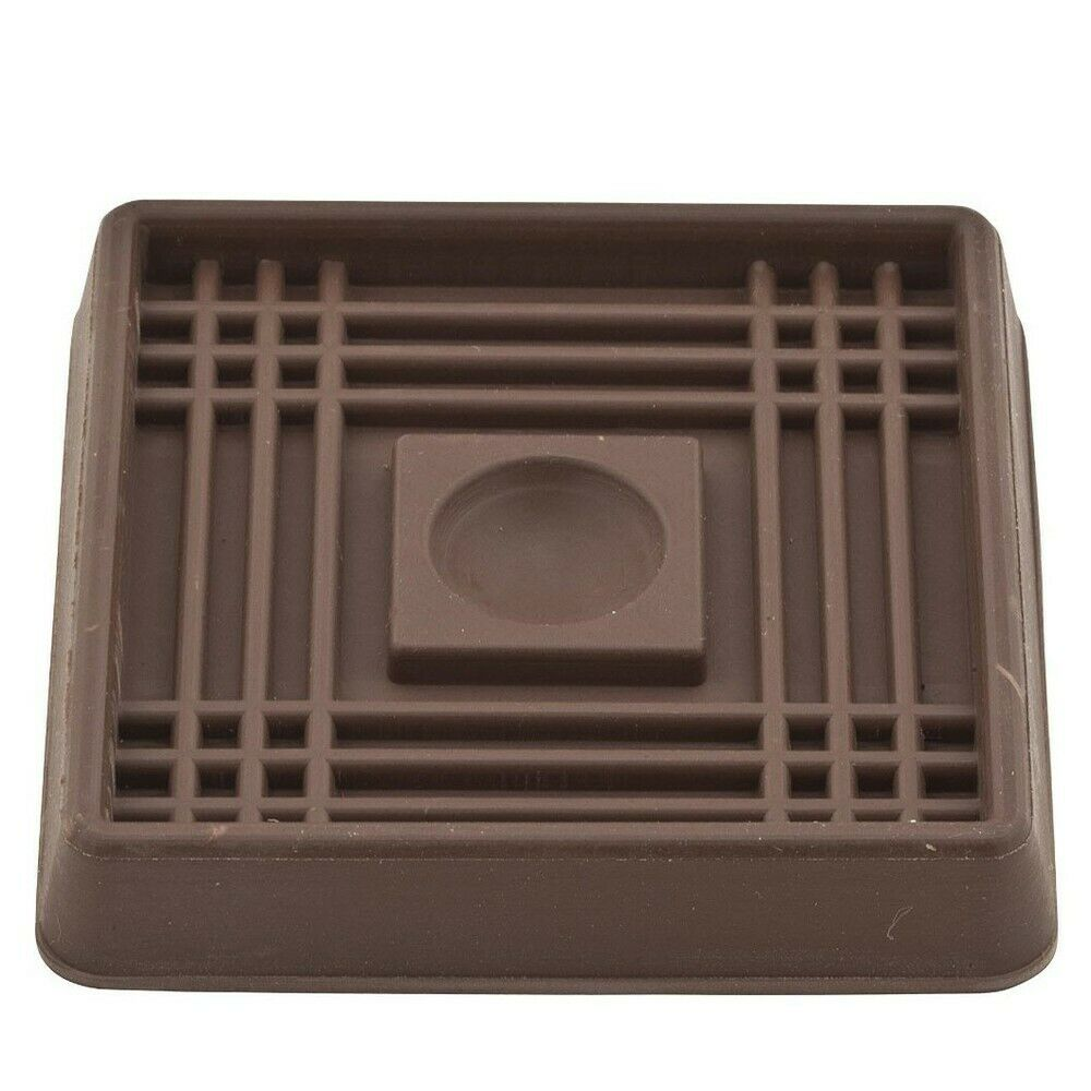2 Inch Square Rubber Caster Cups Brown Pack Of 4 Ebay