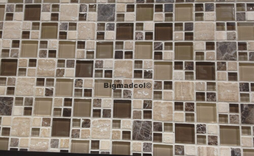 Golden Select Mosaic Glass Amp Travertine Stone Wall Tiles