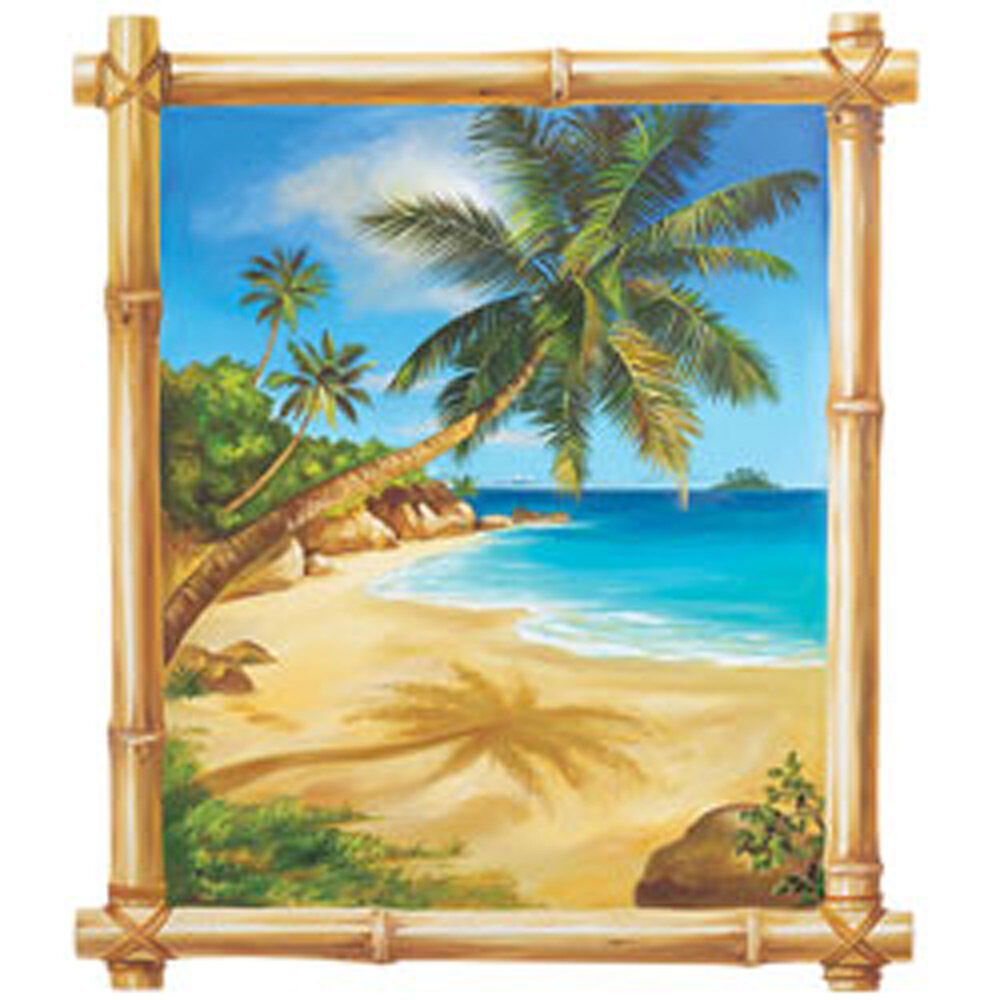 Tropical beach island window wall mural sticker ocean palm for Beach mural for wall