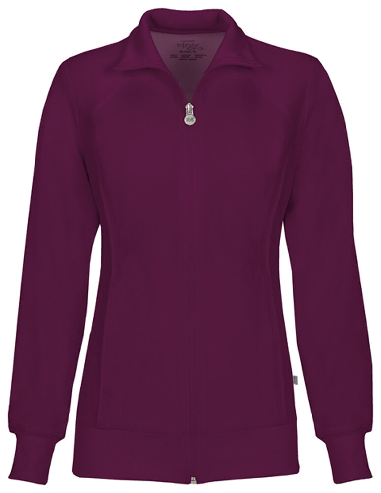 Cherokee Infinity Zip Front Warm-up Jacket 2391A WNPS Wine Free Shipping