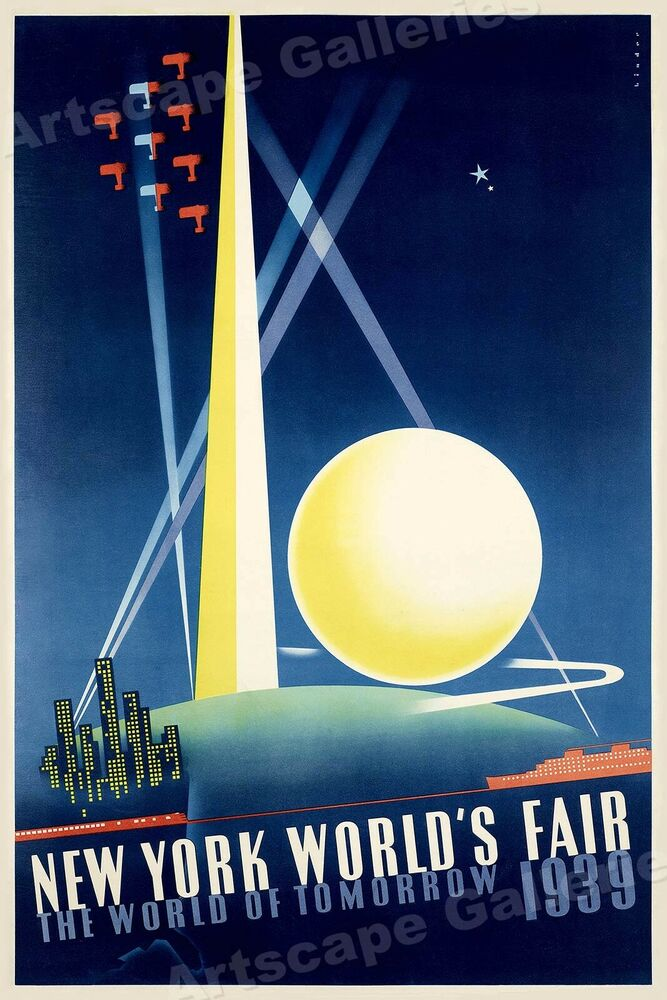 1930s new york world 39 s fair vintage nyc travel poster 20x30 ebay. Black Bedroom Furniture Sets. Home Design Ideas