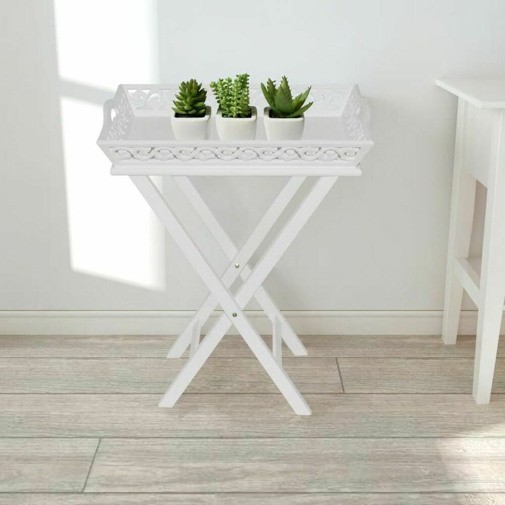 B white tray pot side table end plant stand