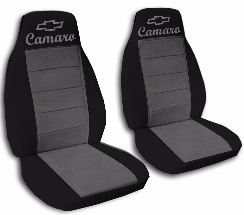 fits 2010 to 2015 chevrolet camaro black and charcoal seat covers abf ebay. Black Bedroom Furniture Sets. Home Design Ideas