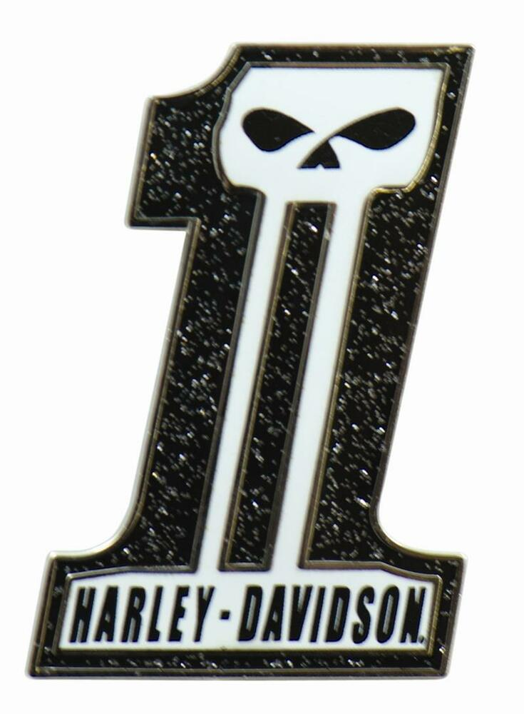 HARLEY DAVIDSON USA NUMBER ONE 1 SKULL VEST PIN  DARK