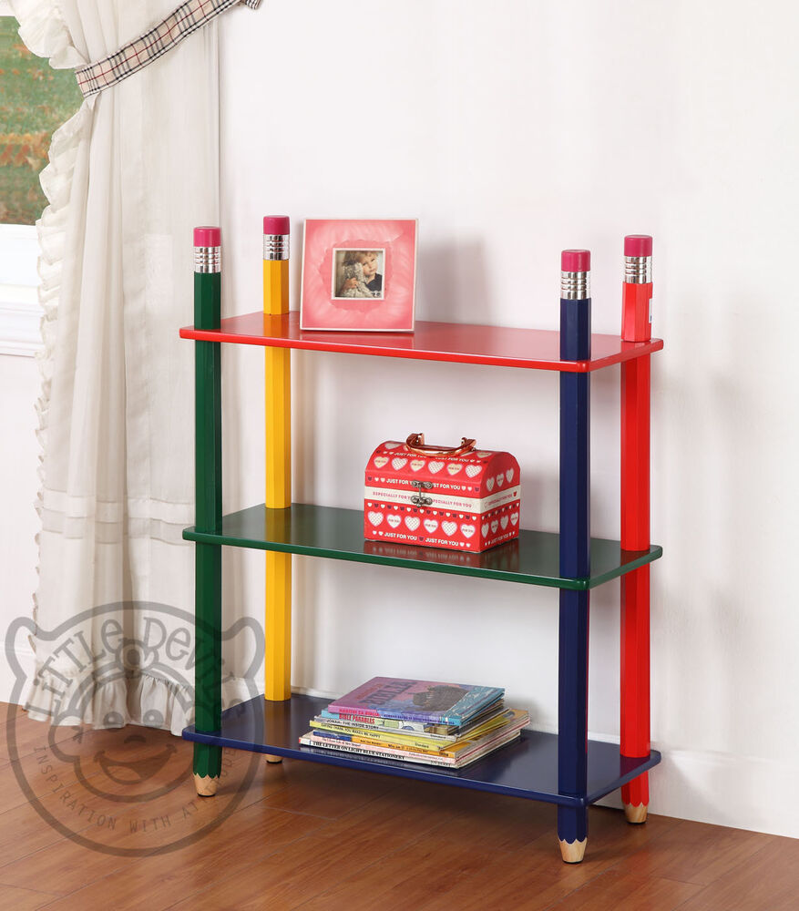Pencil themed kids shelving unit bookcase childrens for Bookcases for kids room