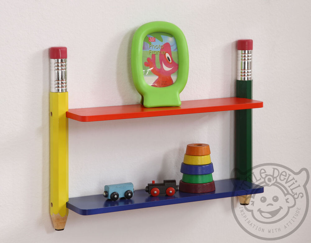 Pencil Themed Kids Wall Shelving Unit Bookcase Childrens