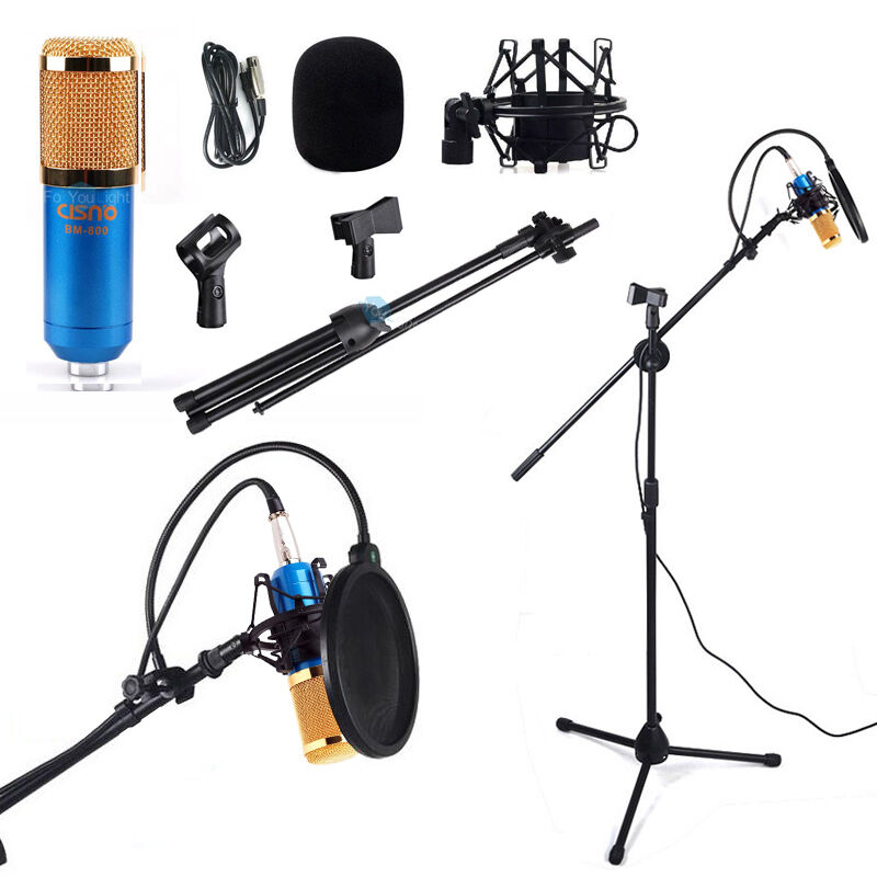 boom stand tripod condenser microphone pop filter shock mount vocal record kit ebay. Black Bedroom Furniture Sets. Home Design Ideas