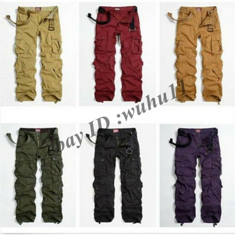 Brilliant Fashion Womens Military Cargo Pocket Pants Leisure Army Green Casual