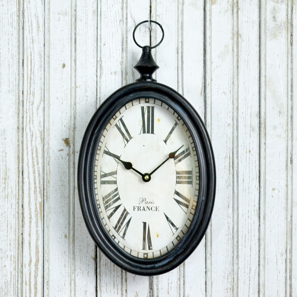 New shabby cottage chic home decor iron oval black and white wall clock ebay - Oval wall decor ...