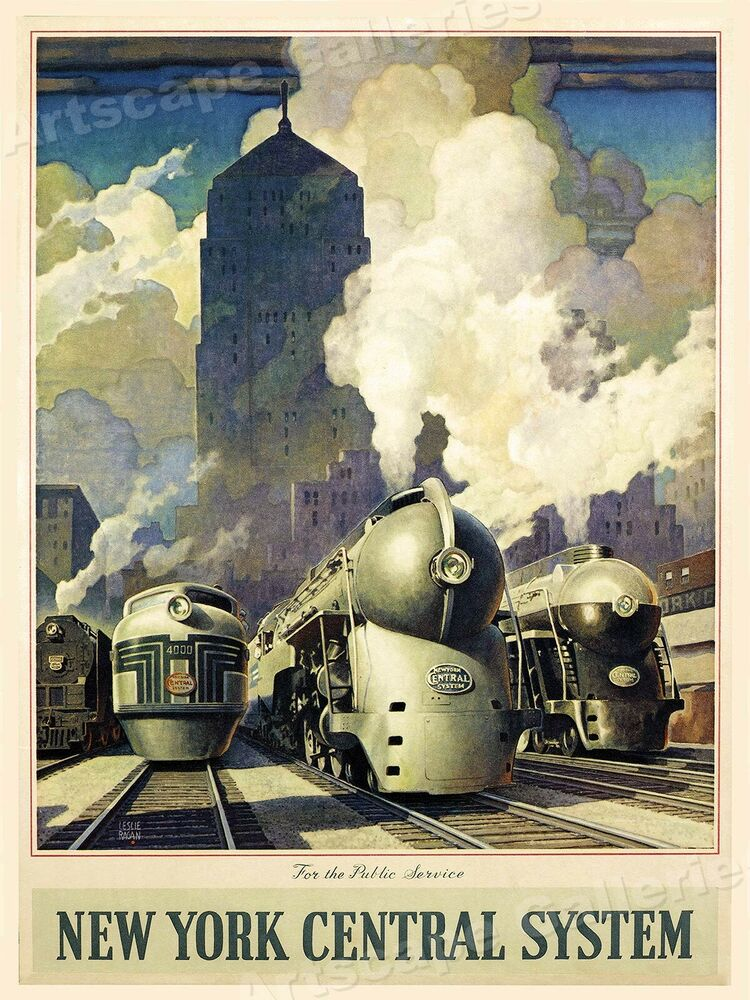 new york central system 1940 s vintage style railroad poster 18x24 ebay. Black Bedroom Furniture Sets. Home Design Ideas