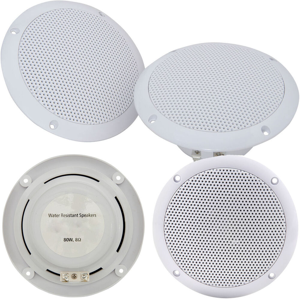 2x Moisture Resistant Ceiling Speakers 80w 8ohm 5