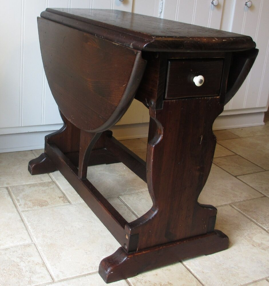 Perfect Ethan Allen Old Tavern Antique Pine Rudder Drop Leaf End Table With Drawer  | EBay