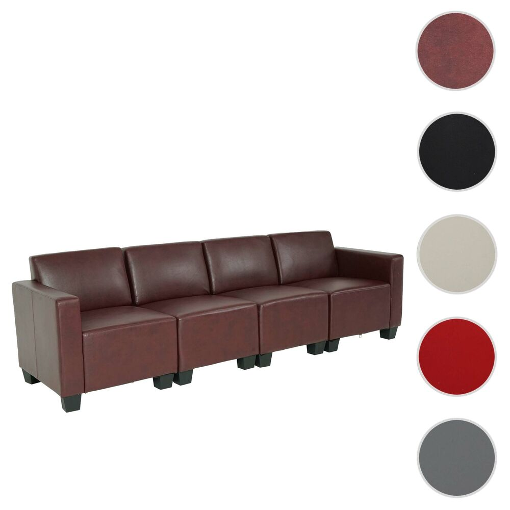 modular 4 sitzer sofa couch lyon kunstleder rot schwarz creme ebay. Black Bedroom Furniture Sets. Home Design Ideas