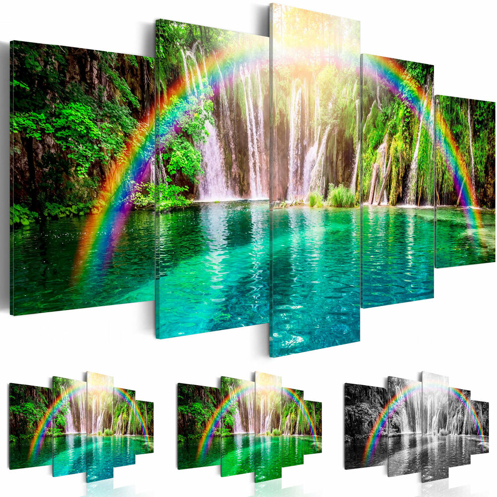 leinwand bilder xxl fertig aufgespannt bild natur regenbogen c a 0071 b n ebay. Black Bedroom Furniture Sets. Home Design Ideas