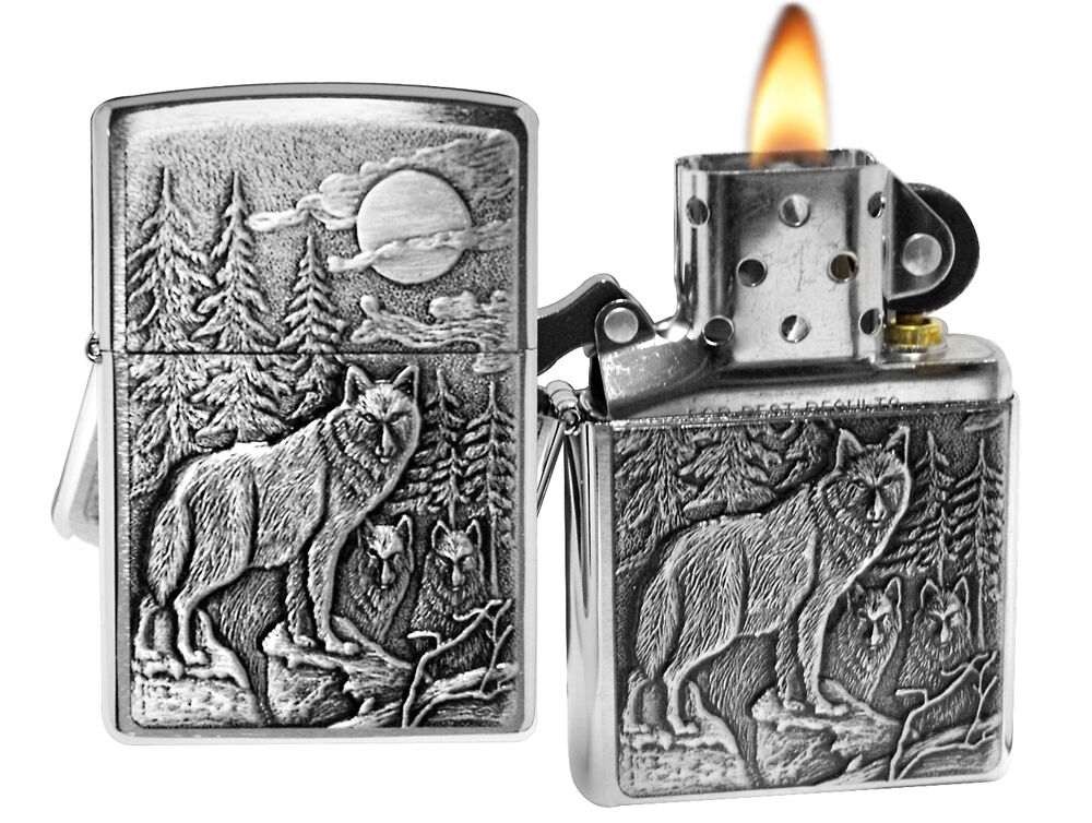 Zippo Lighter 20855 Timber Wolves Emblem Brushed Chrome Classic NEW | eBay