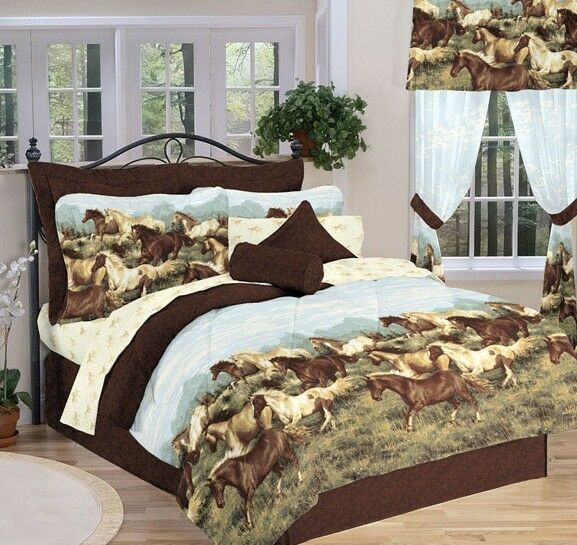 country horses queen comforter sheets shams bed skirt 8 piece bed in a bag ebay. Black Bedroom Furniture Sets. Home Design Ideas