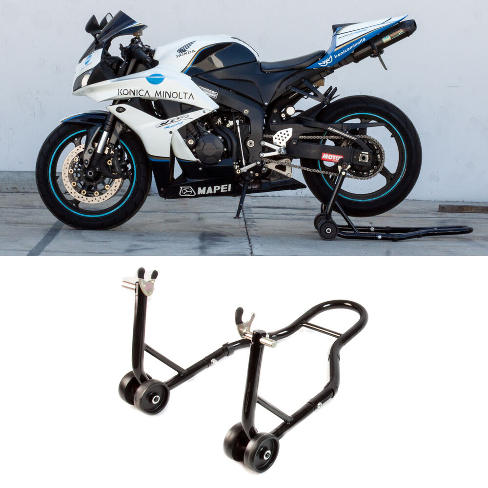 rear motorcycle stand sports bike stand black swingarm lift auto new bike shop ebay. Black Bedroom Furniture Sets. Home Design Ideas