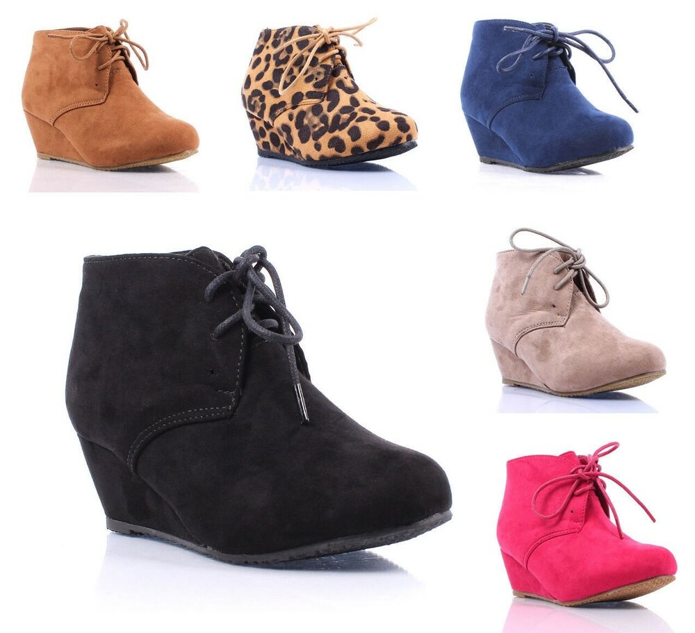New Faux Suede Pumps Lace Up Girls High Heels Kids Ankle