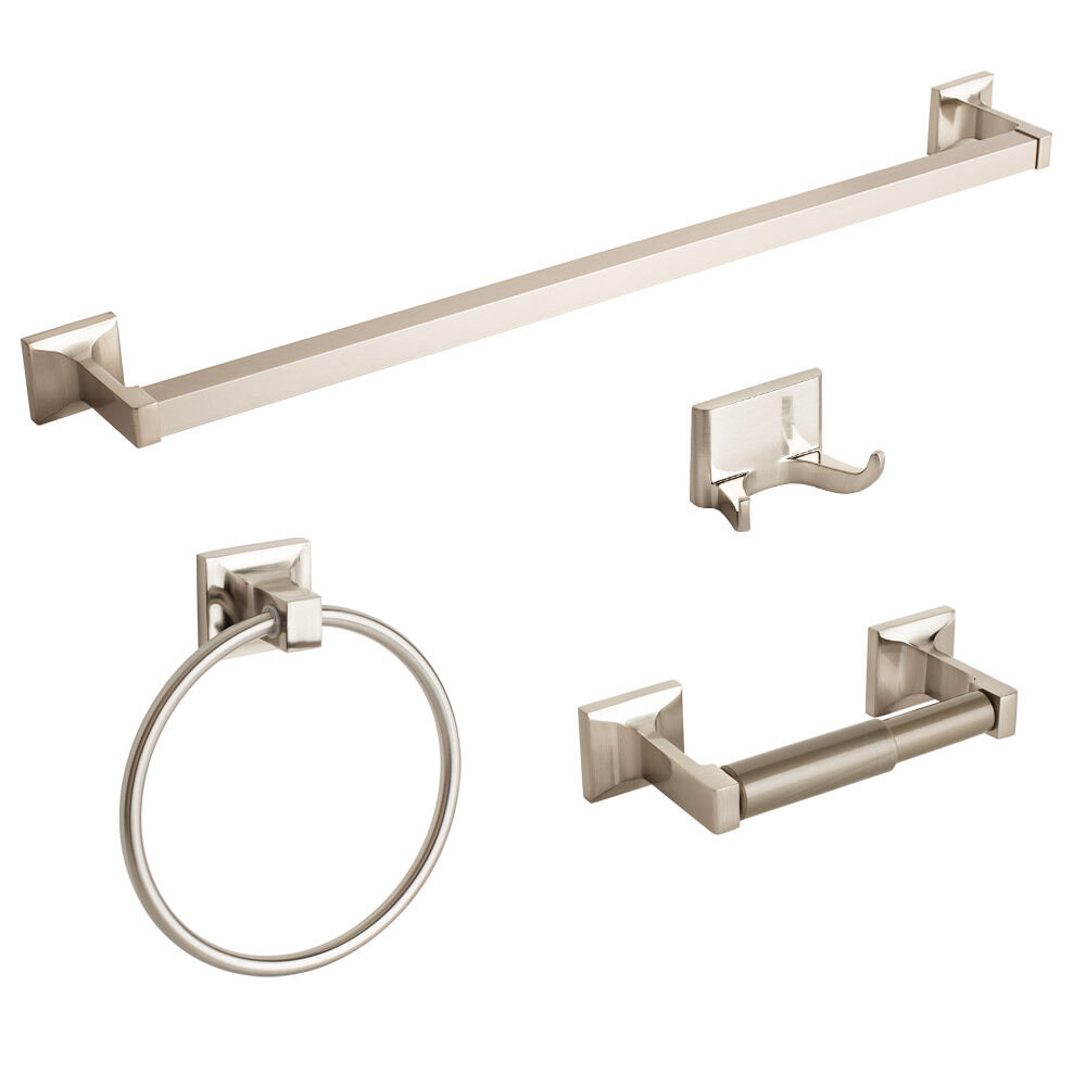 New brushed nickel 4 piece bathroom hardware bath for Bathroom hardware sets