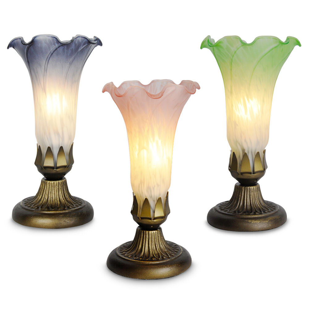Antique Lamp Vintage Table Co : Vintage tiffany style antique brass lily stained glass